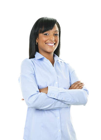 Smiling black woman with arms crossed isolated on white background Stock Photo - 8967328