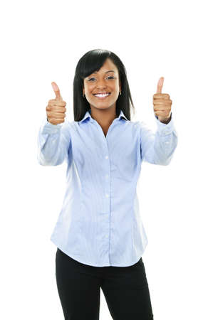 Smiling black woman gesturing thumbs up isolated on white background