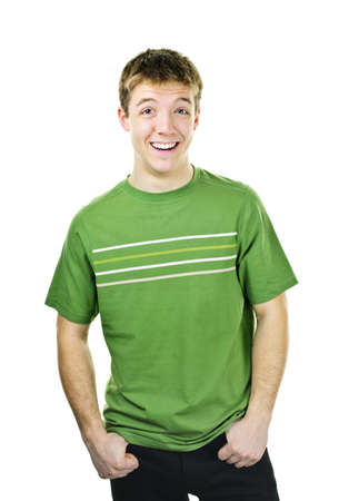 cool guy: Laughing young man standing isolated on white background