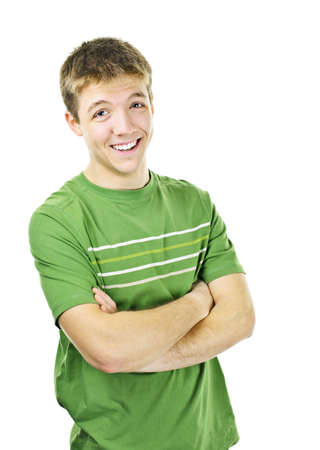 Happy young man standing with arms crossed isolated on white background photo