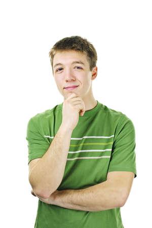 pensador: Joven sonriente con un pie de idea aislada sobre fondo blanco