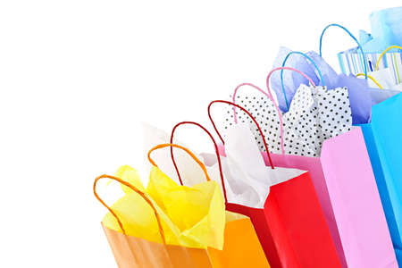 gift bags: Many colorful shopping bags on white background Stock Photo