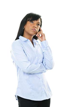 Serious black woman thinking isolated on white background Stock Photo - 9134333
