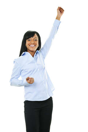 Excited black woman raising arm in victory isolated on white background photo