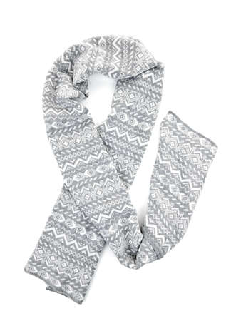 Gray winter wool scarf with pattern isolated on white