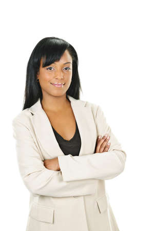 Happy black businesswoman with arms crossed isolated on white background photo