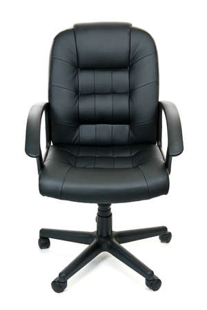 wheel chair: Black leather managers office swivel chair isolated on white background