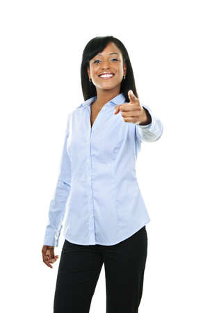 fingers: Smiling black woman pointing finger at camera isolated on white background