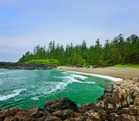 Rocky shore of  Pacific Rim National park, Canada Stock Photo