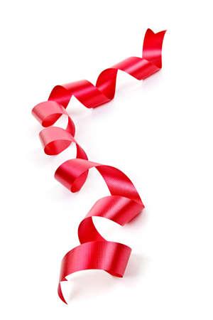 Rizado rojo vacaciones cinta tira aislado sobre fondo blanco Foto de archivo - 9240540
