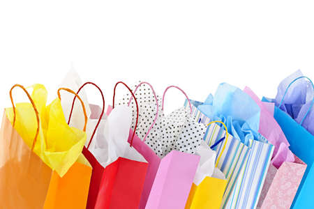shopping bags: Many colorful shopping bags on white background Stock Photo