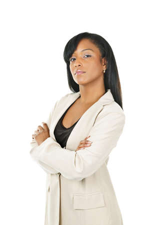 Serious  black businesswoman with arms crossed isolated on white background photo
