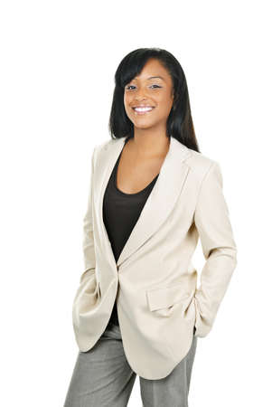 african business: Happy young black businesswoman standing isolated on white background