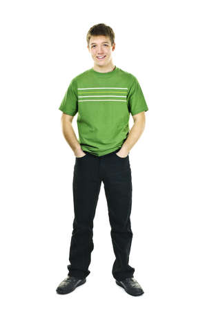 Happy young man full body standing isolated on white background photo