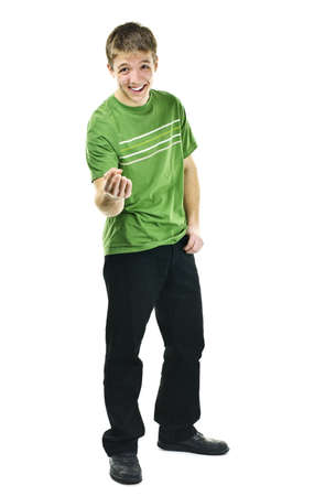 Laughing young man standing full body isolated on white background