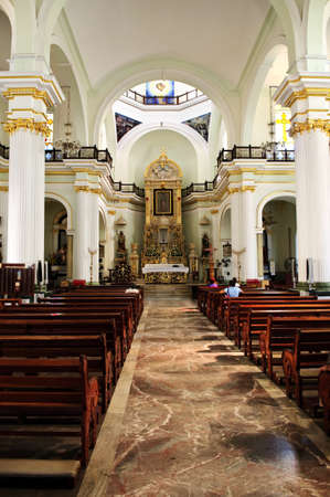 the church of our lady: Our Lady of Guadalupe church interior in Puerto Vallarta, Jalisco, Mexico Editorial