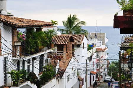 puerto: Street leading to Pacific ocean in Puerto Vallarta, Mexico Stock Photo