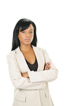 mixed races: Determined black businesswoman with arms crossed isolated on white background