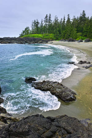 ocean waves: Rocky shore of  Pacific Rim National park, Canada Stock Photo