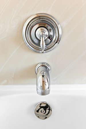 Closeup of shiny chrome bathtub tap fixture Stock Photo - 9417868