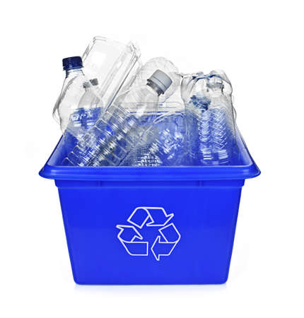 Recycling box filled with clear plastic containers isolated on white photo