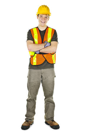 maintenance worker: Smiling male construction worker in safety vest and hard hat