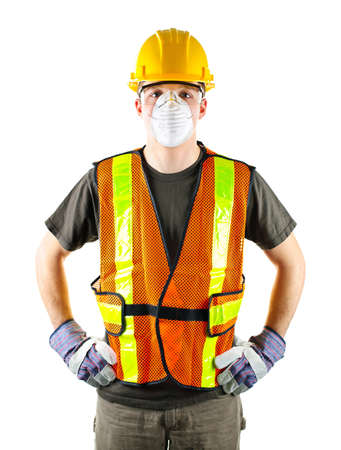 protective wear: Male construction worker wearing safety protective gear