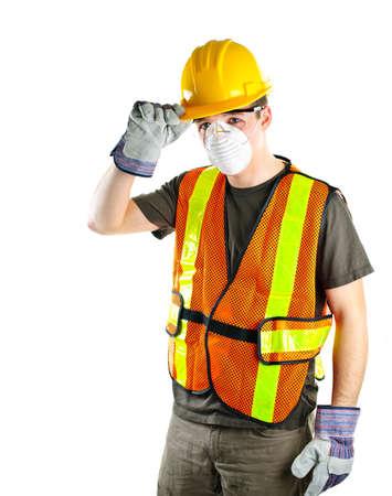 profesiones: Construcci�n masculina con seguridad de los trabajadores protecci�n gear