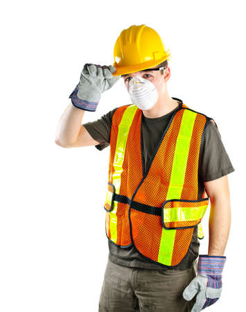 safety gloves: Male construction worker wearing safety protective gear