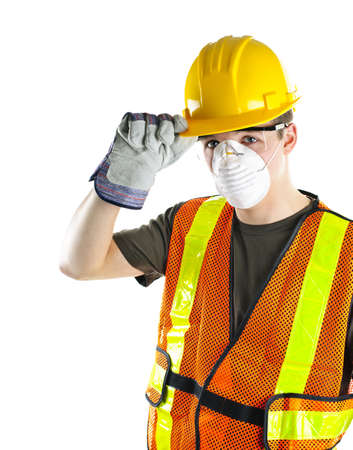 Male construction worker wearing safety protective gear photo
