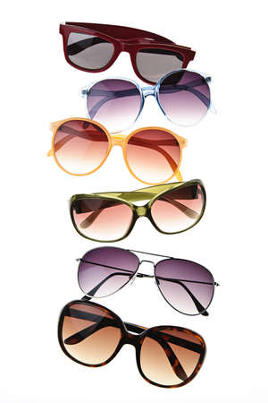 tinted: Assorted styles of tinted sunglasses isolated on white background