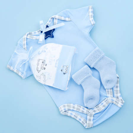 Blue infant boy clothing for baby shower photo