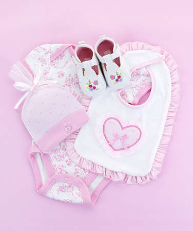 Pink infant girl clothing for baby shower photo