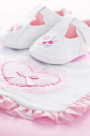 Pink infant girl clothing for baby shower Stock Photo - 9660665