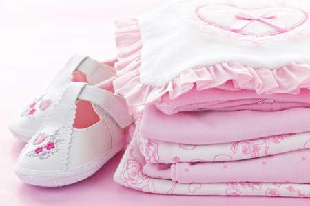 Pink Baby meisje, kleding en schoenen voor baby shower