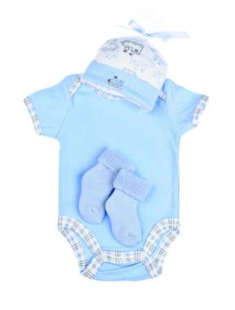 Blue boy infantile, vêtements pour bébé douche isolé sur fond blanc Banque d'images