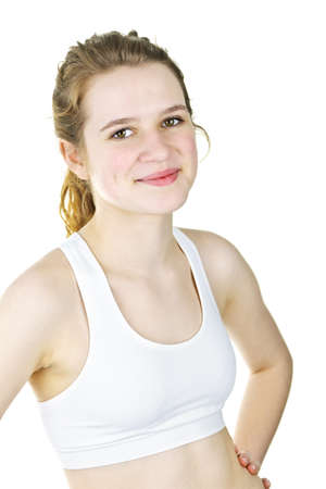 Pretty fit young woman ready for workout on white background photo