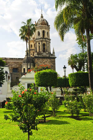 guadalajara: Hibiscus blooming near Temple of Solitude or Templo de la Soledad, Guadalajara Jalisco, Mexico Stock Photo