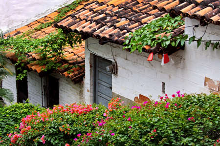 puerto: Old building with red tile roofs in Puerto Vallarta, Jalisco, Mexico