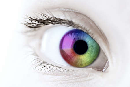 Female eye with rainbow multicolored iris close up