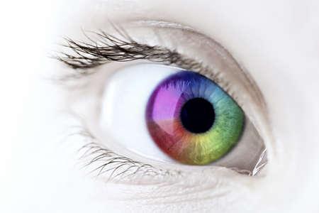 Female eye with rainbow multicolored iris close up photo