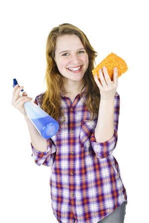 Smiling young woman holding cleaning supplies isolated on white photo