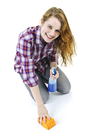 disinfecting: Smiling young woman cleaning floor with cleaning supplies isolated on white