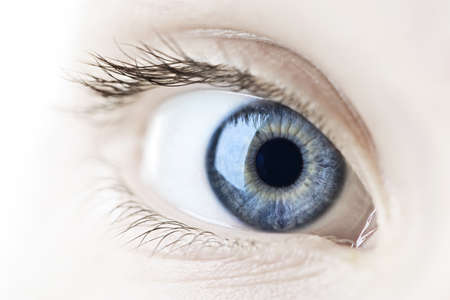 close eye: Female blue eye looking at camera close up Stock Photo