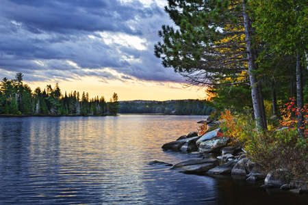Dramatic sunset and pines at Lake of Two Rivers in Algonquin Park, Ontario, Canada Archivio Fotografico