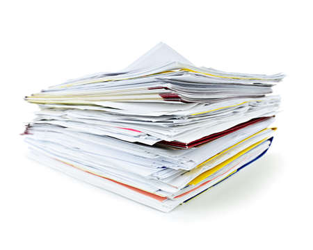 bureaucracy: Stack of file folders with papers on white background