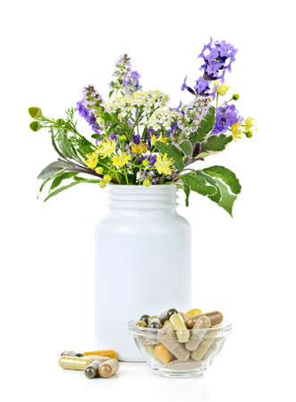 Herb plants with mix of alternative medicine herbal supplements and pills photo
