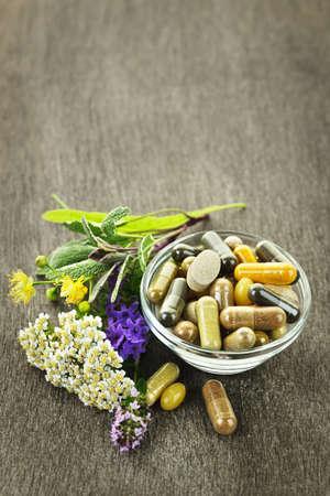 Erbe con i supplementi di medicina alternativa a base di erbe e pillole Archivio Fotografico - 10500920