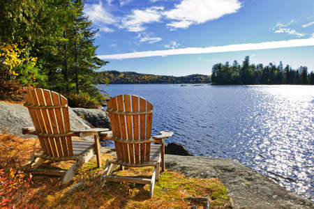 algonquin park: Adirondack chairs at shore of  Lake of Two Rivers, Ontario, Canada