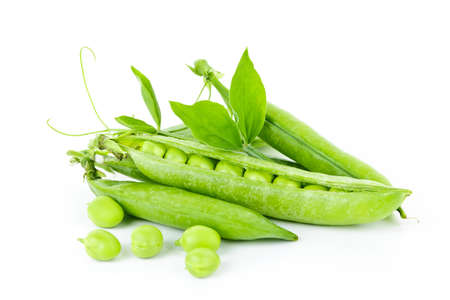 Pea pods with green peas isolated on white background Stock Photo